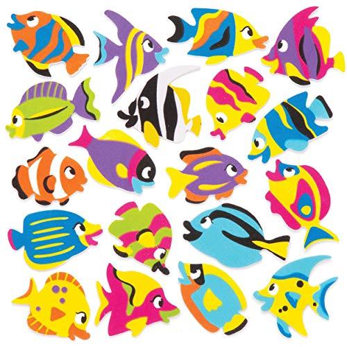"Baker Ross Moosgummi-Aufkleber ""Tropische Fische"" (120 Stück) - Moosgummi-Aufkleber mit Fischmotiven für Collagen und Bastelarbeiten"