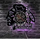 Chicago Blackhawks Hockey Su Ghiaccio Led Vinile Luce Cambiamento Di Colore Lampada Da Parete Telecomando Retroilluminazione A Led Fresco Soggiorno Con Led 12 Pollici