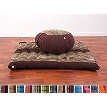 Set de Meditación Cojín Zafu, Colchoneta Zabuton , 76x72x25 cm, Capok, Marrón