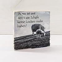 Holzbild Shabby-Chic *...SCHAFE KEINE LOCKEN...* Lustig, 10x10 cm *UNIKAT* - Holzbild, Wandbild, Landhausstil, Shabby Chic, Vintage, Bilder, Motive, Hamburg, Geschenkidee, Souvenir, Deko