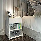 Comodino Naerde moderno semplice mobile contenitore, bianco intagliato Night Stand.
