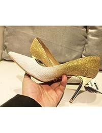Zapatos de Tacón Alto con Zapatos de Lentejuelas Sex de Punta Fina,Mi,33