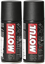 Motul Combo of C2 Chain Lube (150 ml) and C1 Chain Clean for All Bikes (150 ml) (LBCH001)