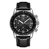Homme montres montre à quartz analogique en cuir pour homme Date Business Mode Robe Montre-bracelet montre Sports pour homme chronographe Noir