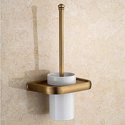 Latón sólido de estilo europeo antiguo baño aseo Brush set wc cepillo de cerámica wc estante pared cepillo sanitario antigüedades taza wc
