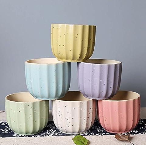 coloré simples poterie Plante Pots de fleurs Creative Pots de fleurs en céramique Vert plantes en pot vases balcon couloirs Étude Ornements Crafts, transparent/vert, A set of 6