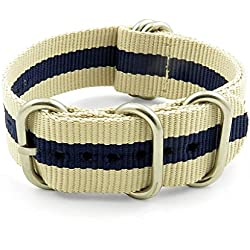 StrapsCo 16mm Beige / Navy Blue Polished 5-Ring G10 Ballistic Nylon Nato Zulu Watch Strap