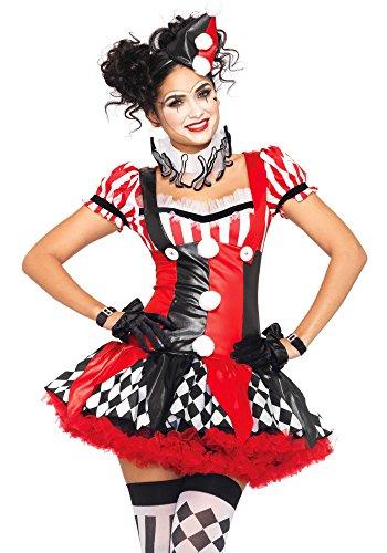 Leg Avenue 83929 - Harlequin Clown Damen Kostüm, Größe S (Schwarz Rot) (Leg Avenue Clown Kostüm)