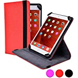 Cooper Cases (TM) Infinite S360 Verizon Ellipsis 7 / 8 Folio Case in Red (Universal Fit, 360-Degree Rotating Stand Feature, Synthetic Cover, Elastic Strap Closure)