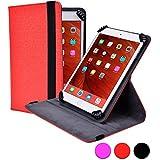 Funda tipo folio Infinite S360 de Cooper Cases(TM) para tablets de Huawei MediaPad M1 8.0 / M2 / T1 7.0 en Rojo (Compatibilidad universal, soporte con rotación de 360 grados, tapa sintética, cierre con elástico)