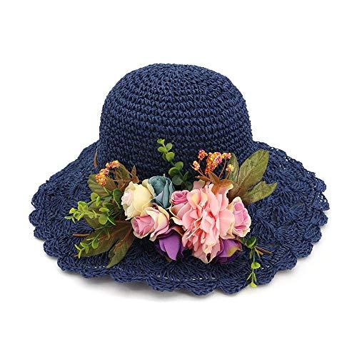 Giow Damen Sommer Stroh Sonnenhut Sonntag Strohhut Blume floral Girly Damen Hut Cap für Frauen Damen mädchen (Farbe: blau) Blue Floral Sun-kleid