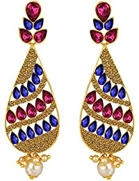 Spargz Antique Gold Plated Multicolor AD Stone Big Long Indian Style Dangle & Chandelier Earrings For Women AIER...