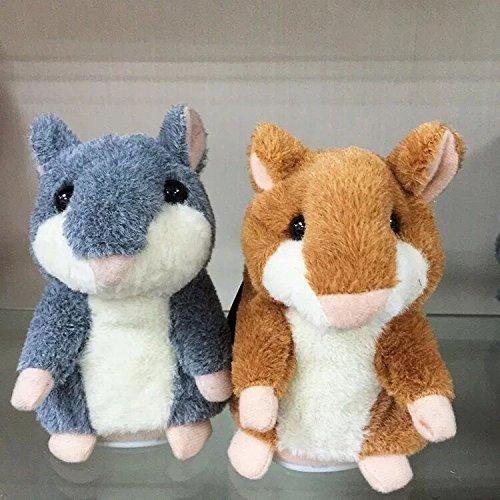 Preisvergleich Produktbild Sprechender Hamster aus Plüsch mit lustigem Comic-Tune mit Batterien, mimt Stimmen und Melodien mit quietschendem Helium Stimme, Sprache, Geschenk für Kinder und Erwachsene (grey)