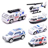 #2: Electrobot Mini Die-cast Metal Playset Medical Ambulance Vehicles Model Toys Set for Kids, ladder truck, yacht, sedan car, Van, Jeep Truck, Helicopter (Medical)