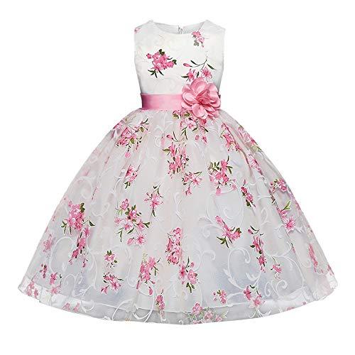 feiXIANG Bambine Ragazze Abito Stampa a Fiori Estivo Vestito Senza Maniche Casual Vestiti da Princess Abiti da Sposa Comunione