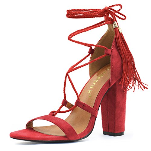 7.5 B(M) US , Red-4 1/2 Inches : Allegra K Women's Chunky High Heel Tassel Closure Lace Up Sandals