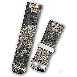 Strap Steel Buckle Watchband Watch Bands for Apple Watch - Gray Flower Pattern Elegant Duolei Si