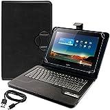 kwmobile Funda con teclado QWERTY para Huawei MediaPad 10 Link con soporte - Funda protectora de piel sintética para tablet en negro