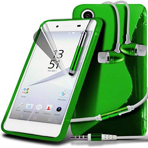 (Clear) Étui pour Apple iPhone 6s Case Survivor durable TPU Gel Clear Case Couverture de haute qualité de la peau + aluminium intra-auriculaires par i-Tronixs Wave Gel+ Earphones ( Green )