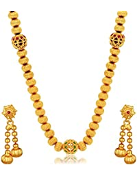 Spargz Antique Gold Plated Brass Metal Synthetics Stone String Necklace Set For Women AINS 104
