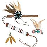 Accessoires d'Indienne Bijoux amérindiens 4 pièces Kit pour déguisement femme Indienne soirée à thème Far West ensemble de bijou squaw Set pour costume indien