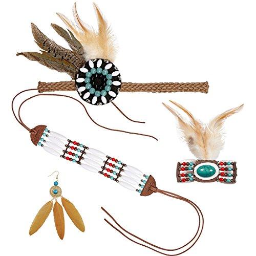 Accessoires Indianerin Indianerschmuck 4-teilig Kostümzubehör Indianerfrau Schmuckset Squaw Mottoparty Wilder Westen Kostümset Indianer
