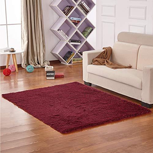 JIAX 120 * 200 cm Einfarbig Badezimmer Matte Boden Dekor Teppiche Badematte Plüsch Teppiche für Wc WC Toilette Raum Fußmatten,Burgundy