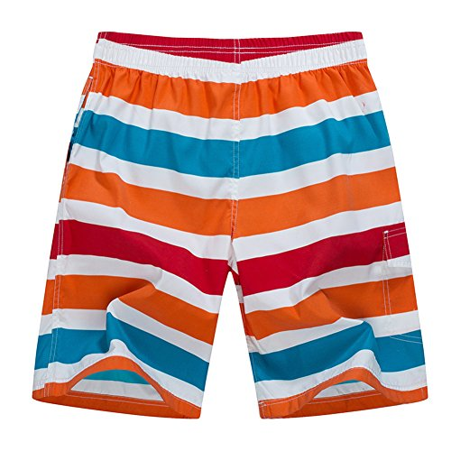 Huntvp Herren Badehose Trunks Colorblock Sommer Cargo-Board Shorts für Schwimmen Surf Wüsten-Tarnung