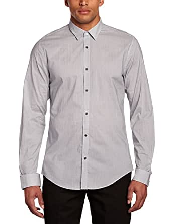 ESPRIT Collection Men's All Over Print Long Sleeve Classic Slim Fit Formal Shirt, Dark Night Blue, Small