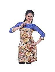Sareez Women's Swiss Cotton And Chiffon Printed Yellow Kurti