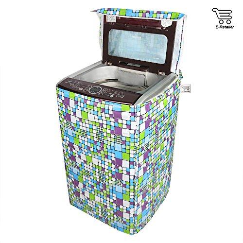 E Retailer Green Square Design Top Load Washing Machine Cover  Suitable For 6 Kg, 6.5 Kg, 7 Kg, 7.5 Kg