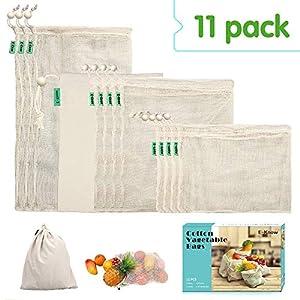 E-Know Gemüsebeutel aus Baumwolle,11er Set Obst und Gemüsebeutel Natural Mesh Baumwolle , Zero-Waste (3 Kleine, 4 Mittlere, 3 große, 1 Aufbewahrungstasche) MEHRWEG