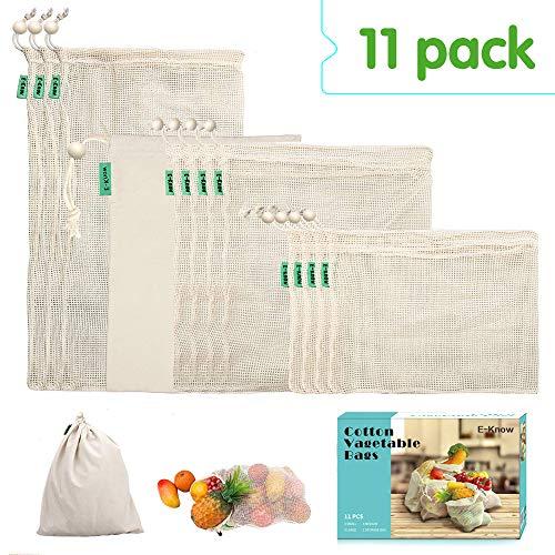 E-Know Gemüsebeutel aus Baumwolle,11er Set Obst und Gemüsebeutel Natural Mesh Baumwolle , Zero-Waste (3 Kleine, 4 Mittlere, 3 große, 1 Aufbewahrungstasche) MEHRWEG -