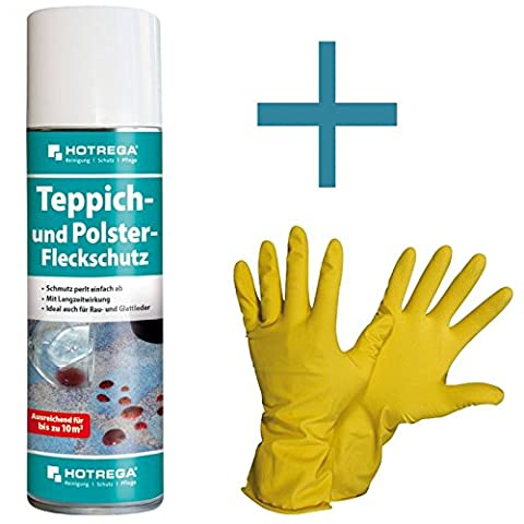 HOTREGA - Teppich- und Polster- Fleckschutz 300 ml SET + NITRAS Handschuhe Gr. 10