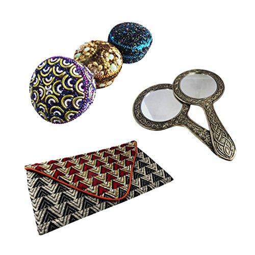 molto artigianale regalo per gli accessori di stoccaggio rotolo cassa dei monili delle donne, specchio tenuto in mano, gioielli articoli da regalo di nozze box set di 3 pezzi