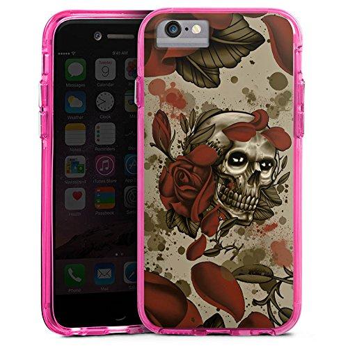 Apple iPhone 6s Bumper Hülle Bumper Case Glitzer Hülle Tattoo Rock N Roll Skull Bumper Case transparent pink