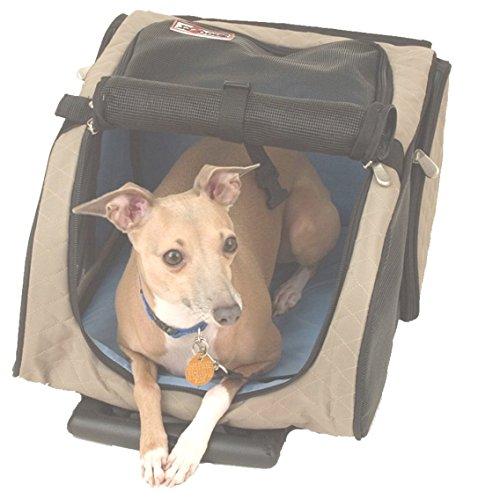 Snoozer Roll Around 4-in-1-Transporttasche für Haustiere, khaki, schwarz & blau, groß