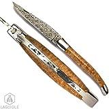 LAGUIOLE, le vrai couteau Damas collection fait main artisanal, fabrication française à l'ancienne. Manche en loupe d'amboine. lg 21.5cm déployé. Livré avec certificat d'authenticité numéroté. Chaque modèle est unique....