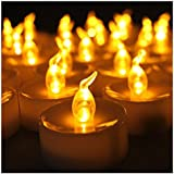 Set of 12 Amber Flickering LED Candles, Flameless Tea Lights for Decoration, Festivals, Weddings with Batteries