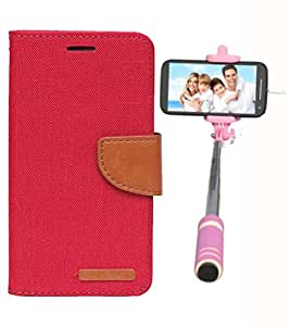 Aart Fancy Wallet Dairy Jeans Flip Case Cover for Blackberry9300 (Red) + Mini Fashionable Selfie Stick Compatible for all Mobiles Phones By Aart Store