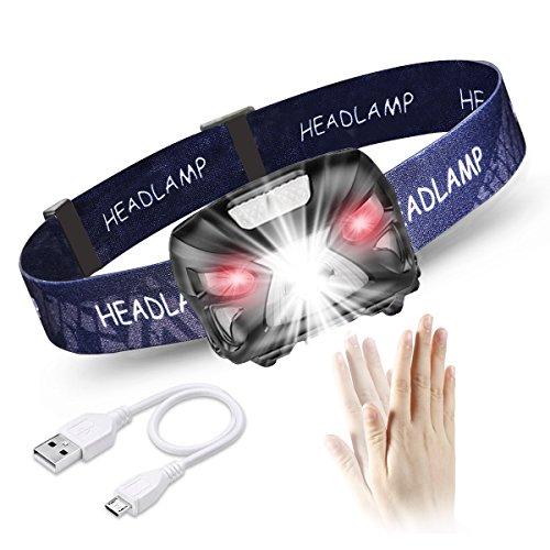 LED Stirnlampe Kopflampe, USB Wiederaufladbare Kopflampe, Geste Sensor Funktion, 8 Lichtmodi, 1200mAh, Wasserdicht, Verstellbares Band und USB Kabel, 300LM Ideal für Joggen, Radfahren, Wandern