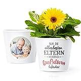 Facepot Baby Oma und Opa Geschenke - Blumentopf (ø16cm) für werdende Großeltern mit Bilderrahmen für Zwei Fotos (10x15cm) | Nur die allerbesten Eltern Werden zu Großeltern befördert