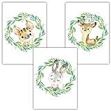 Frechdax® 3er Set Kinderzimmer Babyzimmer Poster Bilder DIN A4 | Waldtiere...