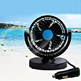 BestFire 12V Car Mini Electric Fan 360 Rotating Strong Wind Car Fan Car Air Conditioner Low Noise Portable Auto Air Cooling Fan