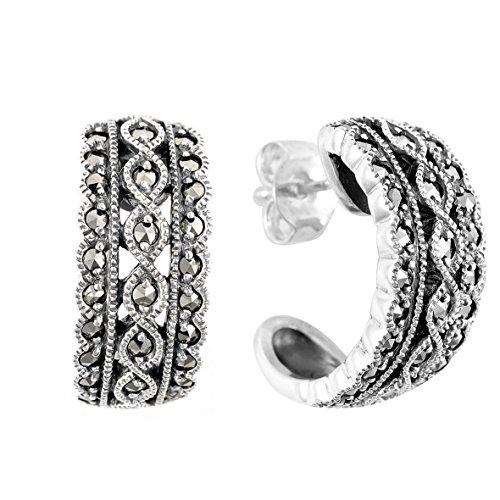 Damen-Creolen Silber Markasit 214E2385-01/925