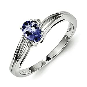 Sterling Silver Rhodium Plated Diamond and Tanzanite Oval Ring - Size L 1/2