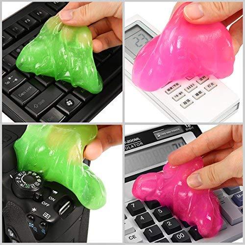 Tastatur Reinigung, MECO Keyboard Cleaner Gel Kabellos Tastatursauger Staub/Schmutz-Entferner für Ihren PC, Computer, Mobile und Andere Alltagsgegenstände <1 Schachtel mit 4 Kopien> - Tastaturen Kabellose Tastaturen