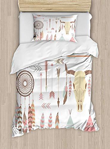 LIS HOME Indianer-Bettbezug-Set, Tribal Indian Elements Dreamcatcher Bergziege Feder Ethnische Indie-Kunst, 2-teiliges Bettwäscheset mit Kopfkissenbezug, Twin/Twin XL, Multi -