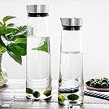 Buwico 1L/1.5L Wasserkaraffe Klassische Krug Saft-Flasche mit Edelstahldeckel Borosilicatglas Eistee Krug für Infusing Wasser, Milch, Saft, Eistee, Limonade und kohlensäurehaltigen Getränken (1.5L) -