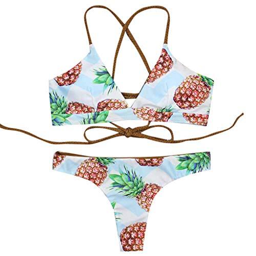 Sannysis Bikini Damen Set High Waist Bademode Neckholder Bikini mit Polka Dots Badeanzug Frauen Niedlich Ruffles Strap Badeanzug Crop Top Flounce Bikini